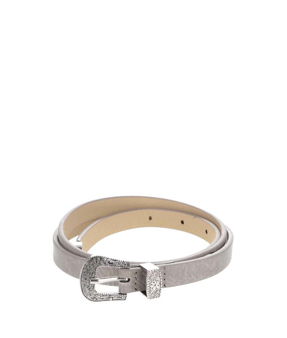 Šedý tenký pásek  se zdobenou sponou ve stříbrné barvě Pieces Palosa