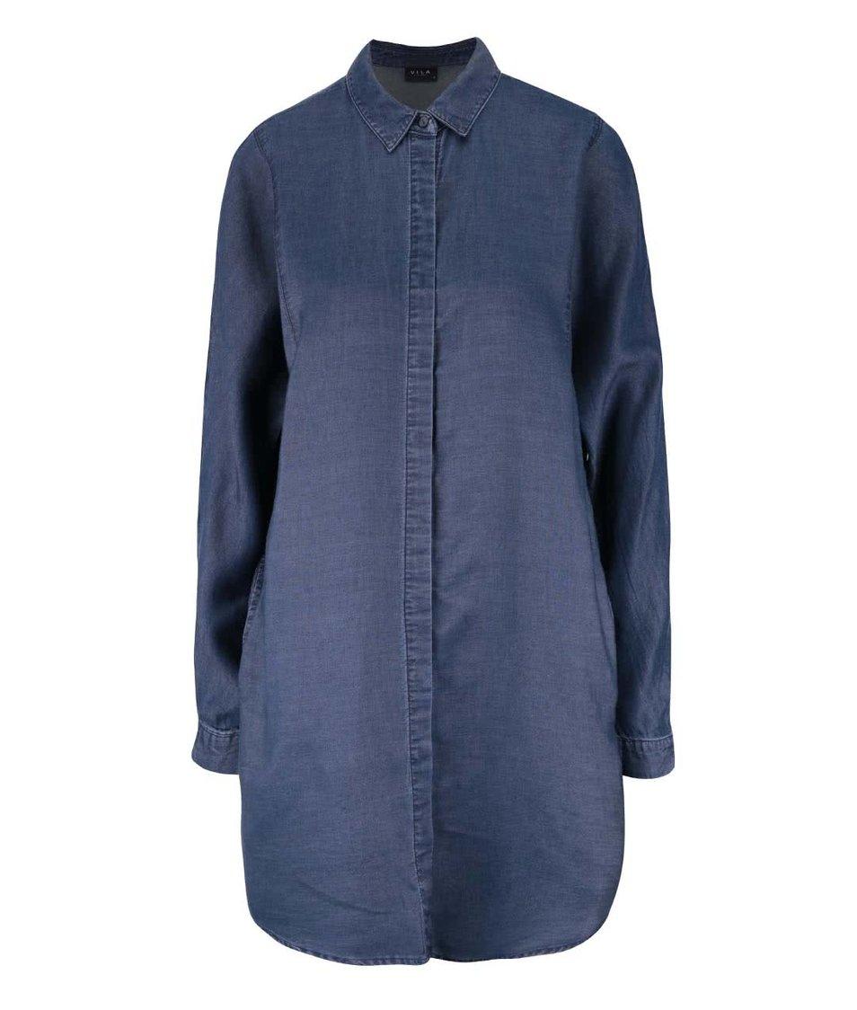 Tmavě modrá džínová košile s dlouhým rukávem VILA San