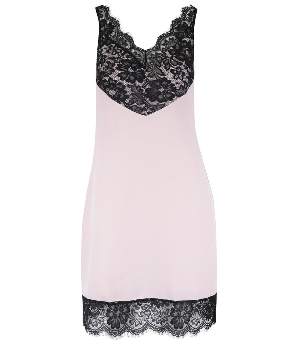 Krémové šaty s černou krajkou Miss Selfridge