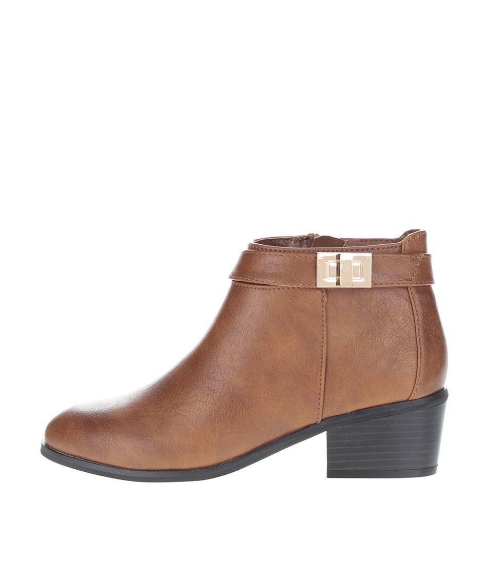 Hnědé kotníkové boty s detaily ve zlaté barvě Miss Selfridge