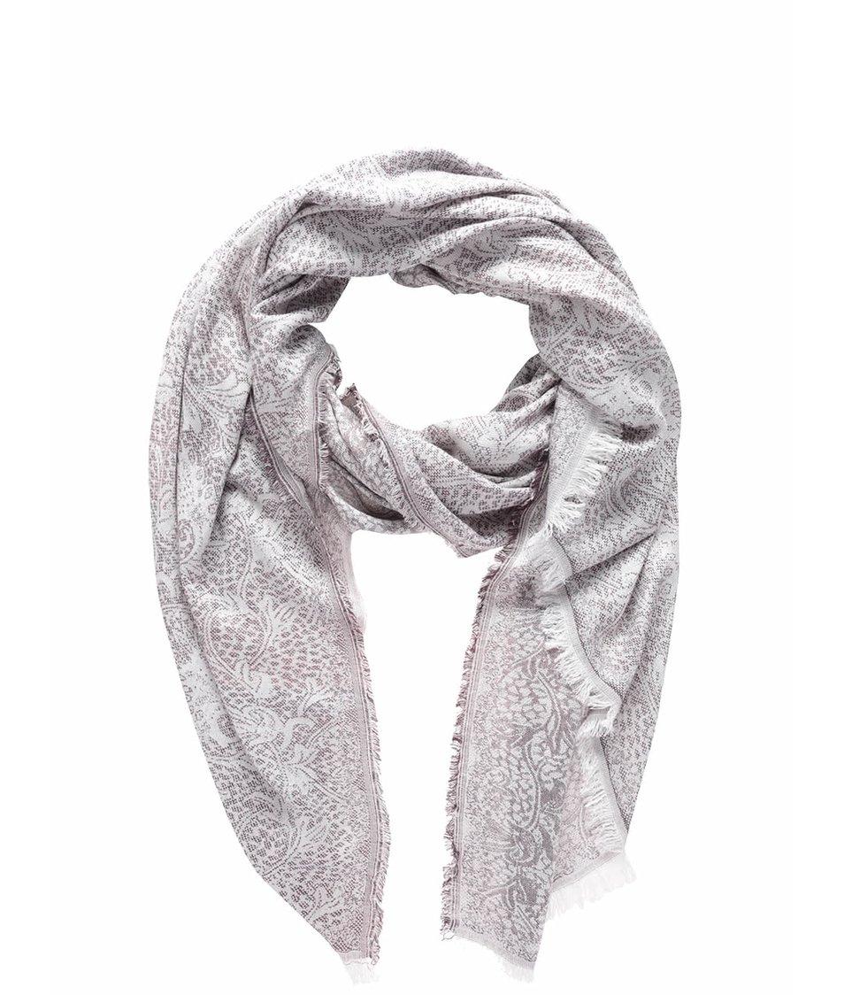 Krémovo-vínový vzorovaný šátek Vero Moda Jia