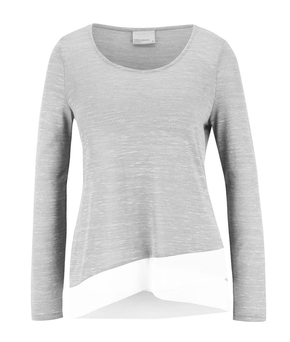 Světle šedý žíhaný tenký svetr Vero Moda Babay