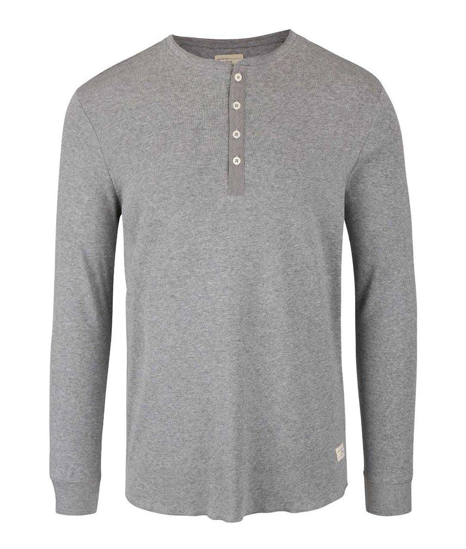 Světle šedé triko s dlouhými rukávy Selected Homme Hiconic