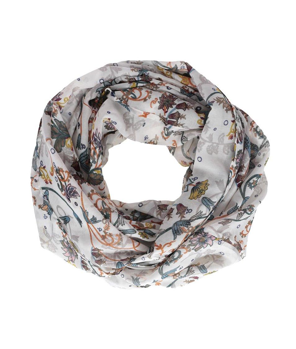 Krémový dutý šátek s potiskem květin Vero Moda Ellen
