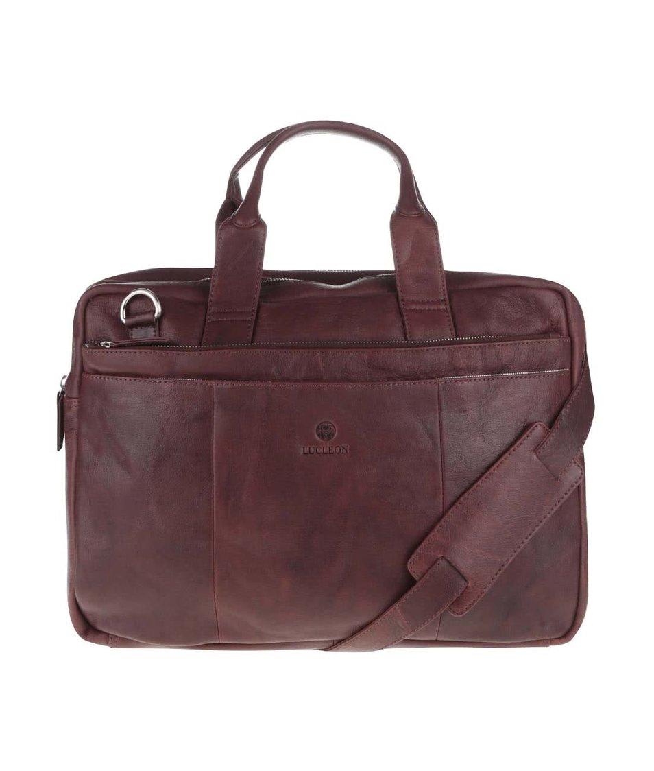 Hnědá pánská kožená taška na notebook Lucleon California