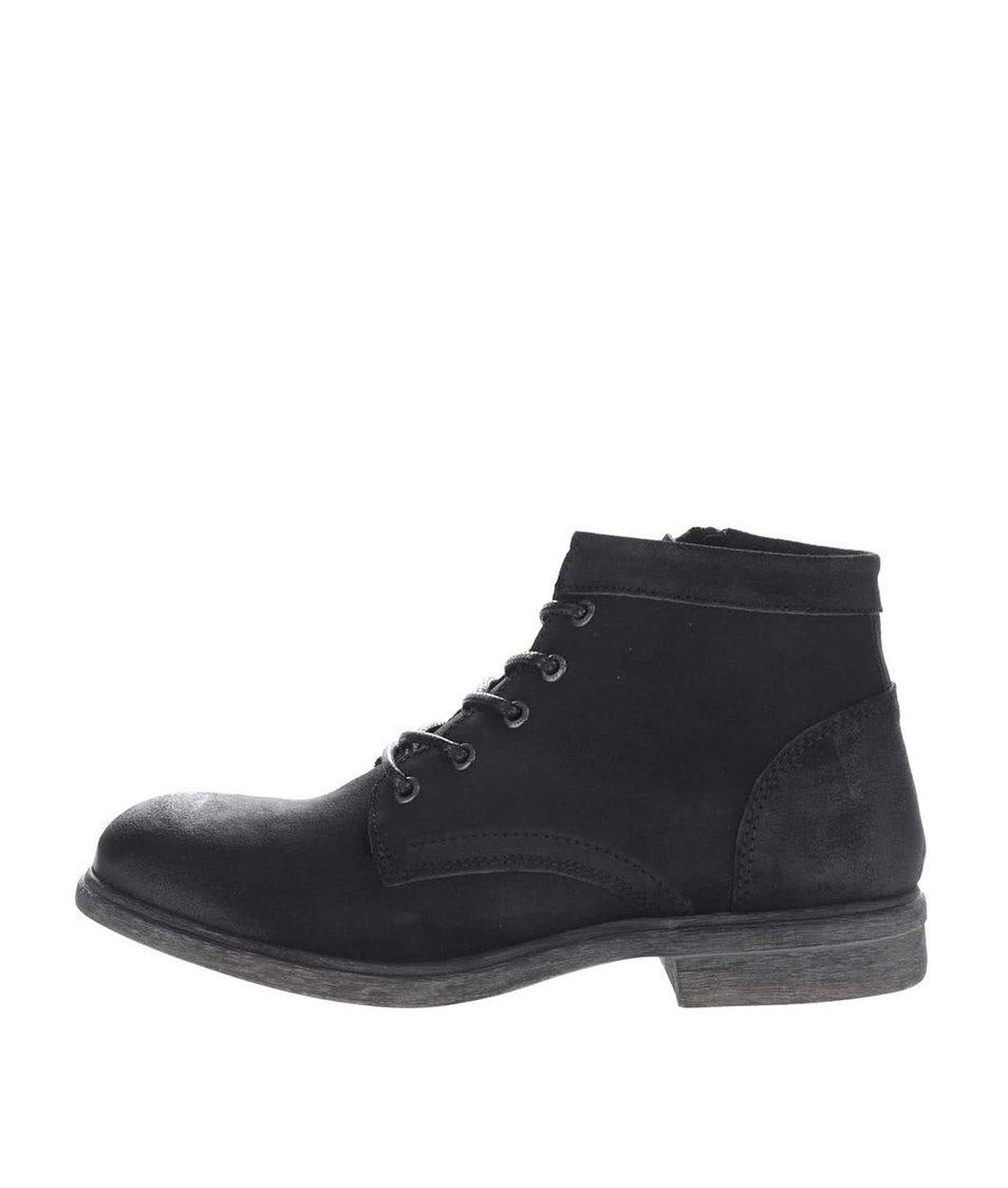 Černé kožené kotníkové boty Selected Homme Trevor