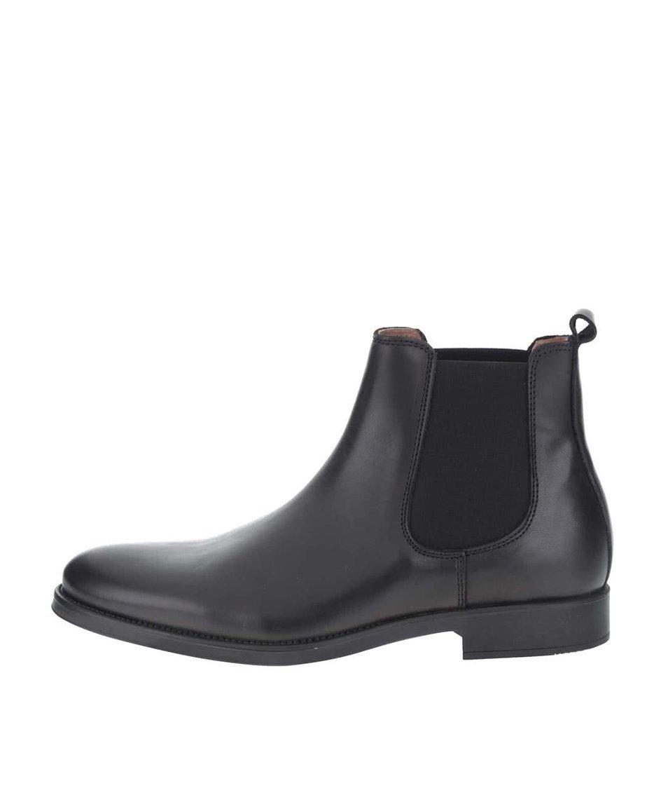 Černé kožené kotníkové chelsea boty Selected Homme Oliver