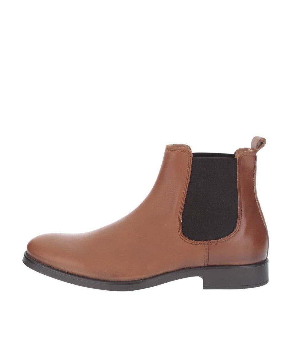 Hnědé kožené kotníkové chelsea boty Selected Homme Oliver