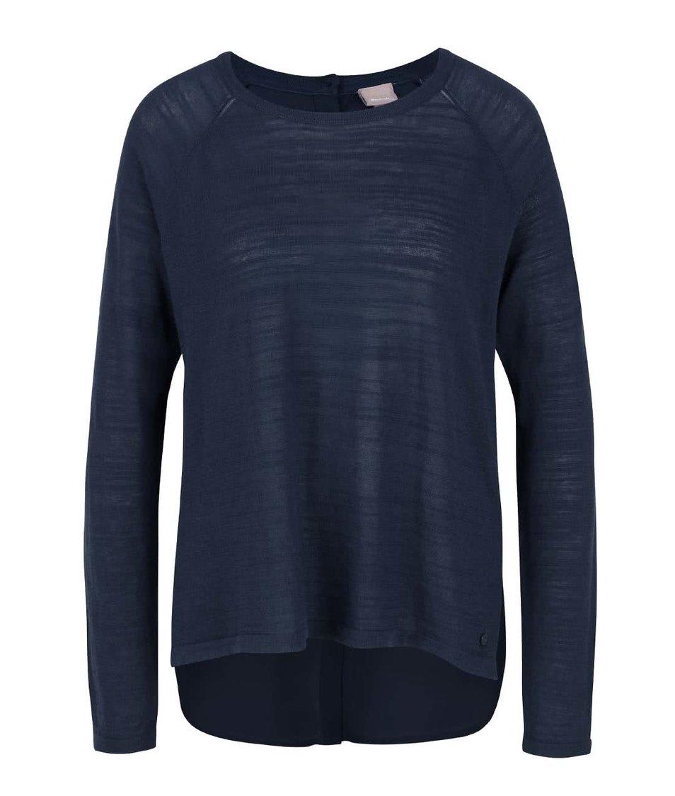 Modrý dámský lehký svetr s šifonovou zadní stranou Bench