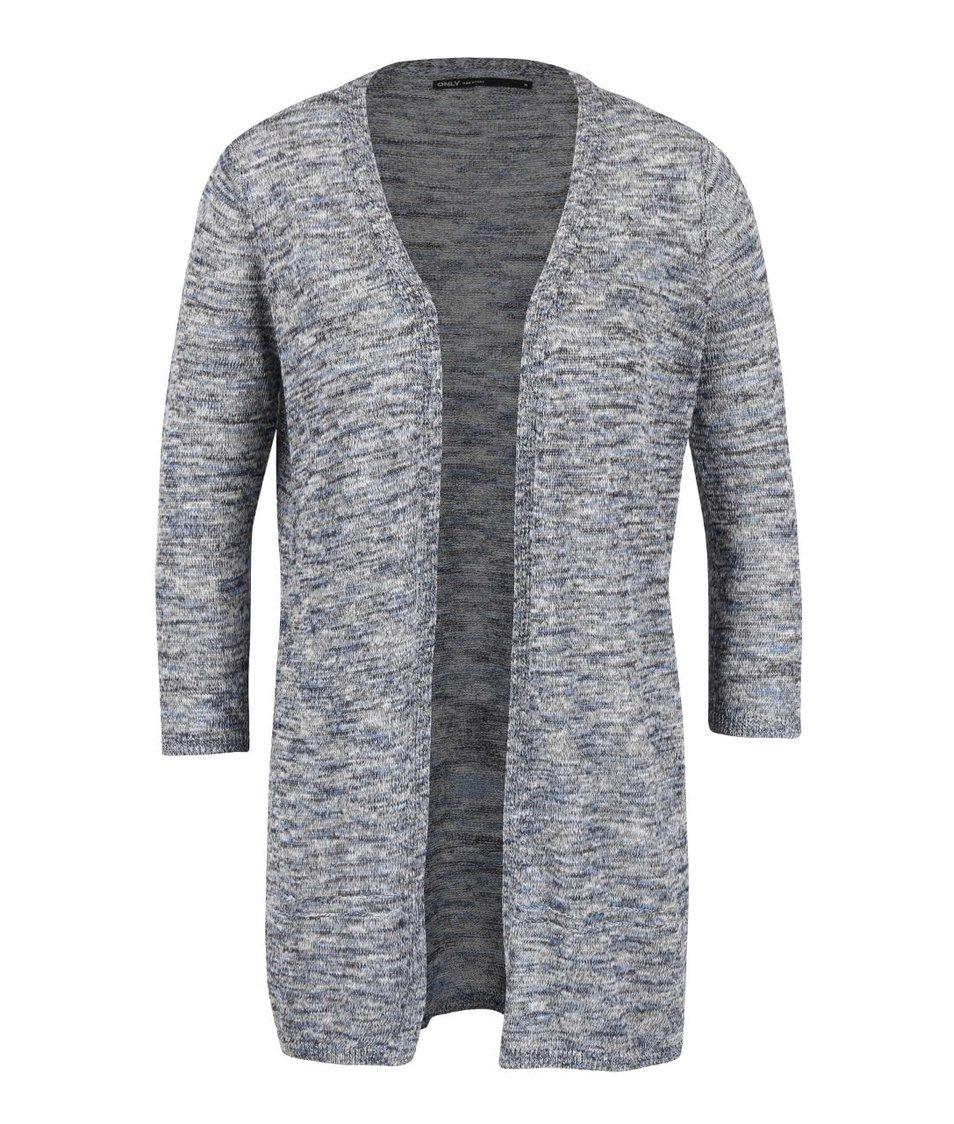 Modro-šedý žíhaný cardigan s 3/4 rukávy ONLY Haxby