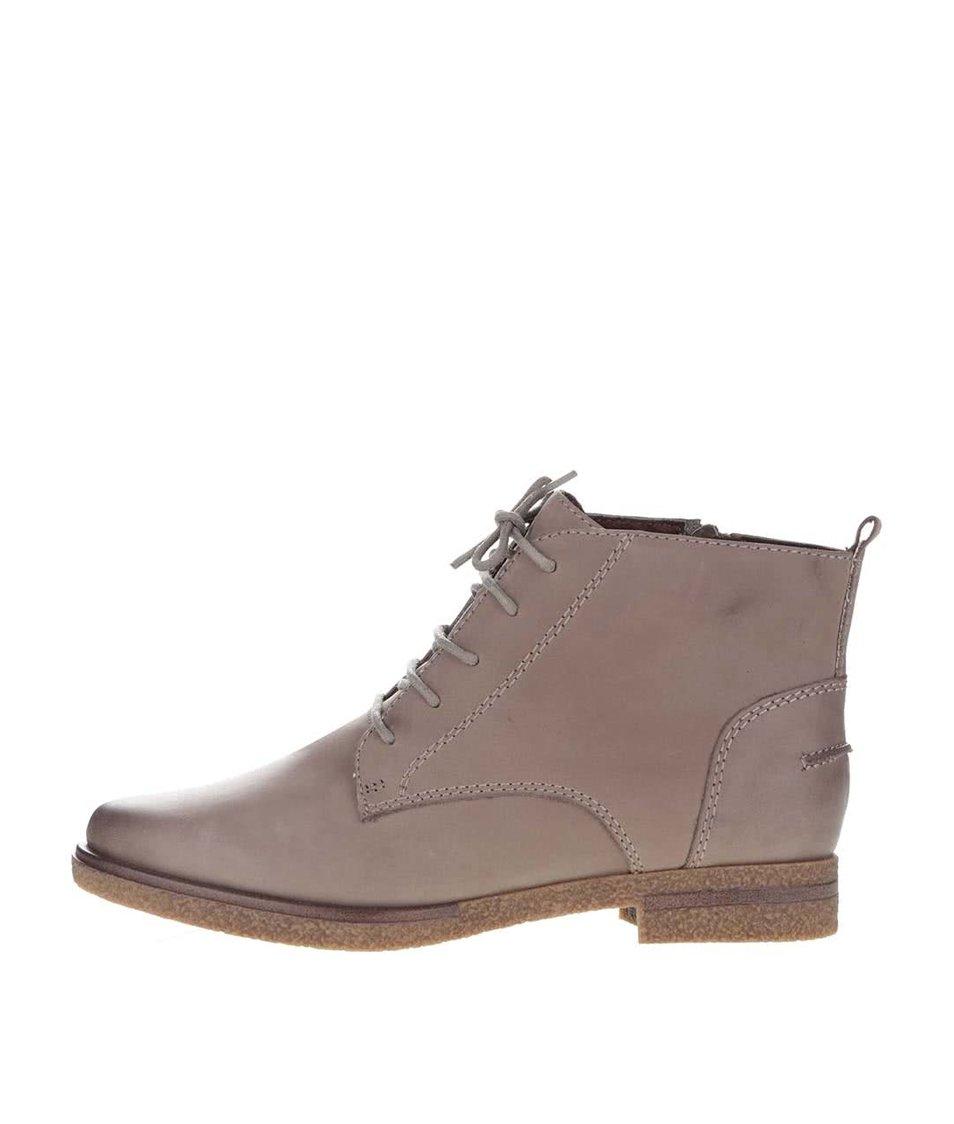 Béžové kožené kotníkové boty se zipem Tamaris