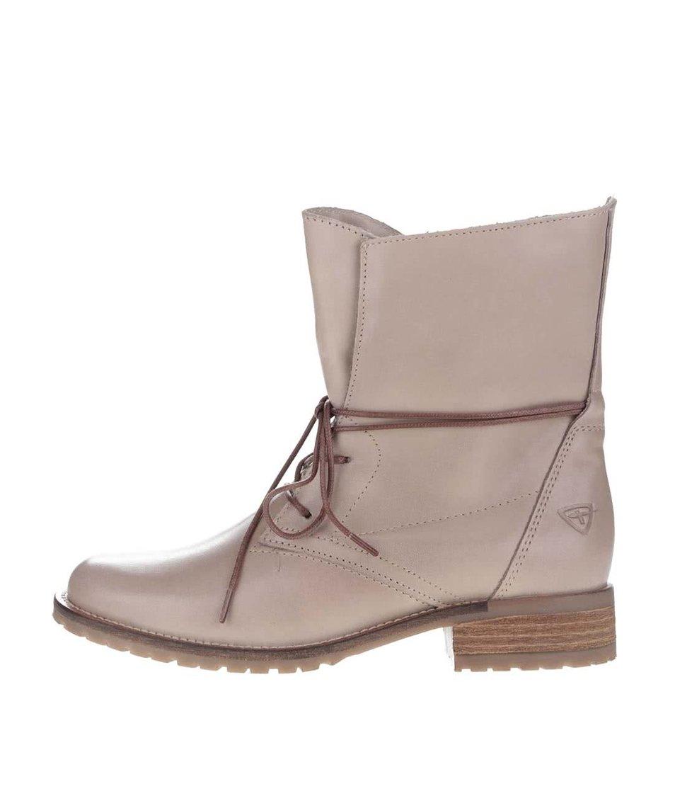 Béžové kožené boty na šněrování Tamaris