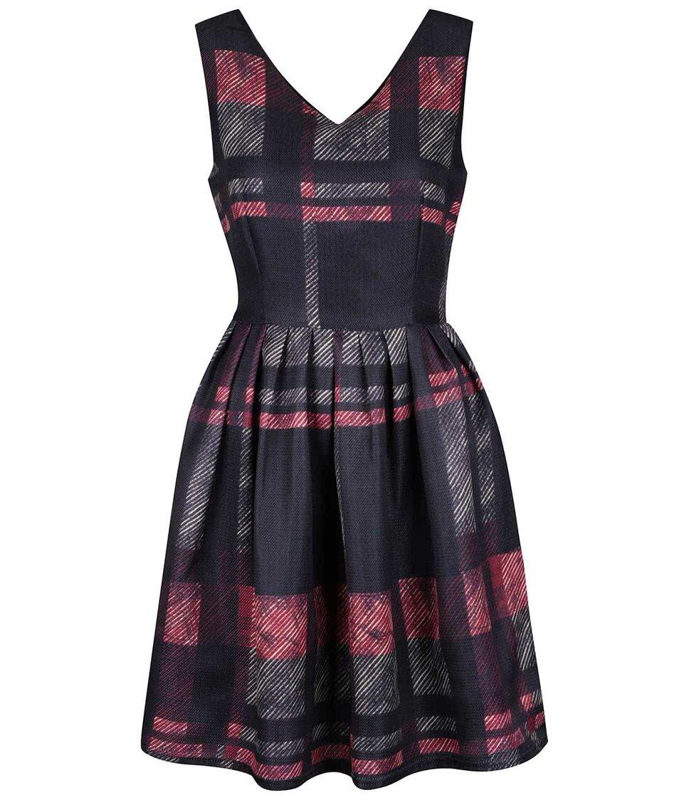 Černé kárované šaty Mela London