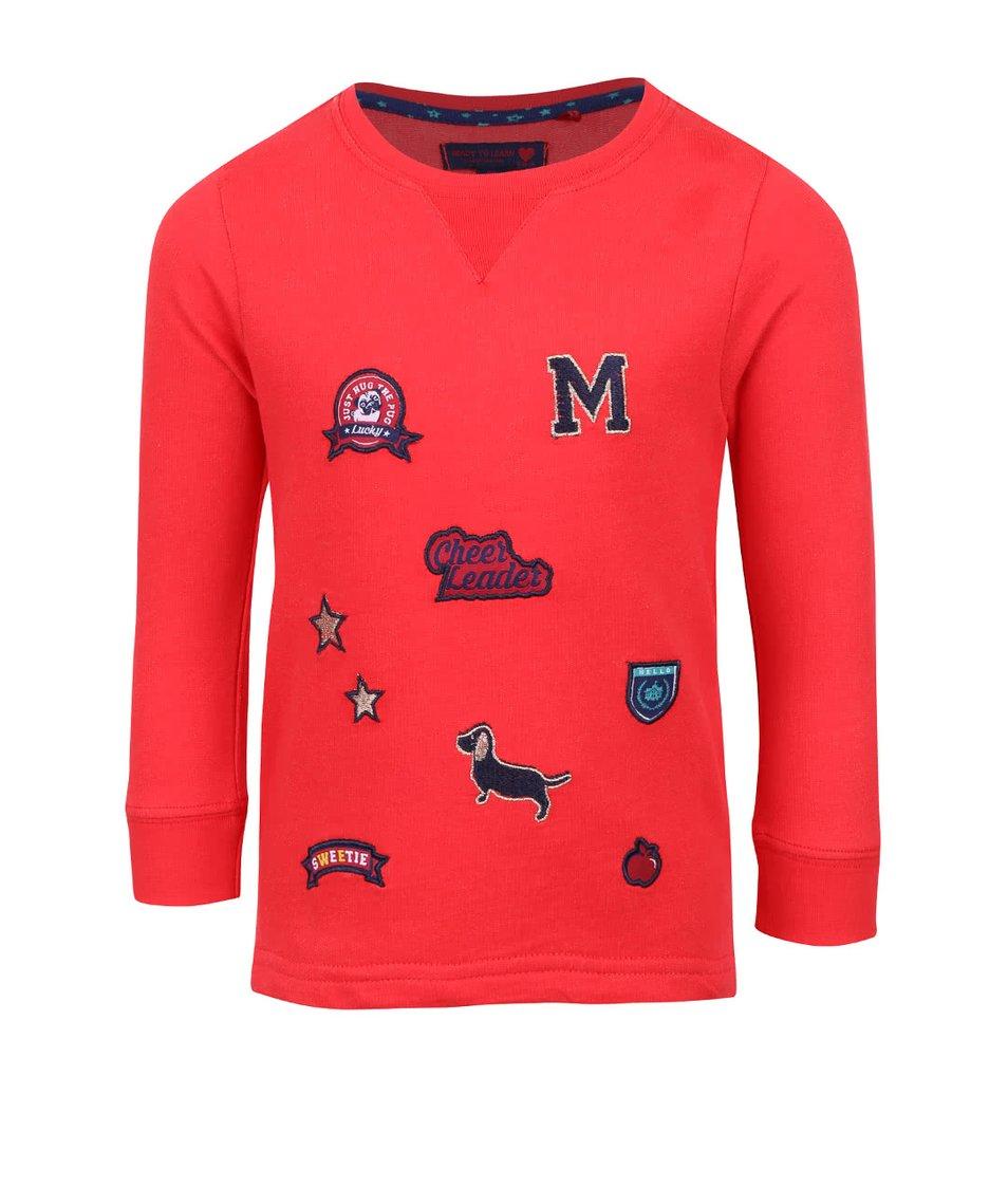 Červené holčičí tričko s nášivkami a dlouhým rukávem 5.10.15.