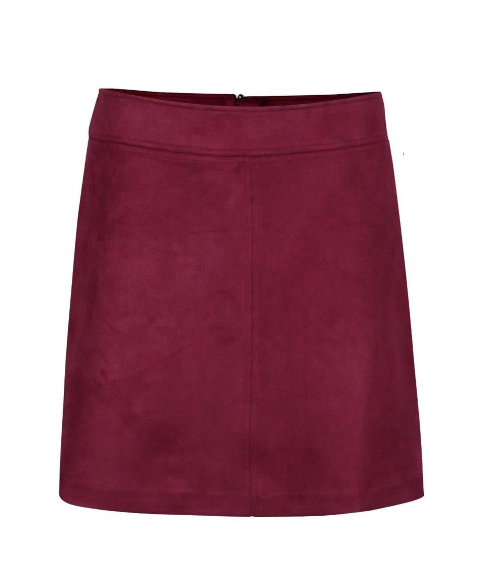 Vínová sukně v semišové úpravě Wolf & Whistle