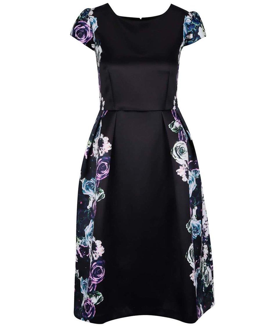 Černé šaty s květinovým motivem Wolf & Whistle