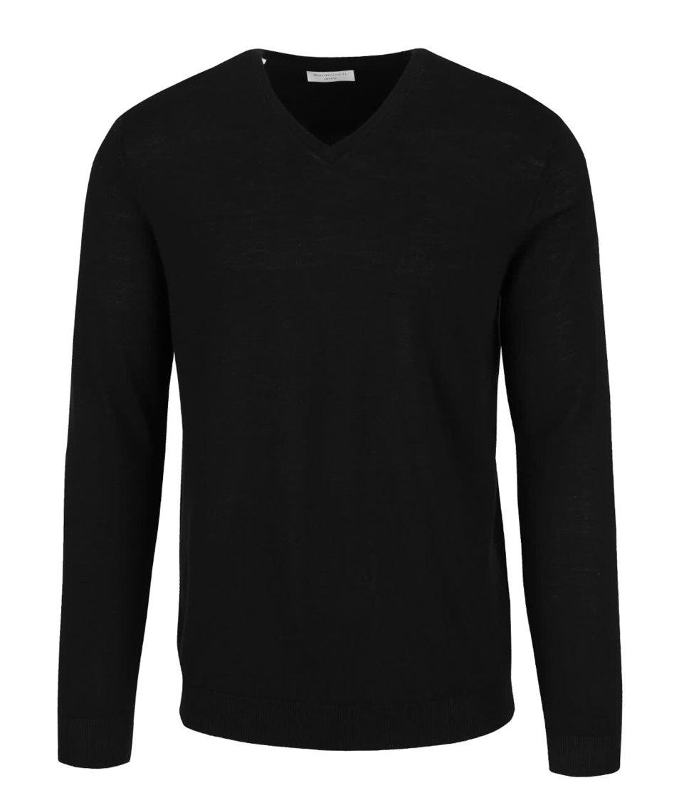 Černý svetr s véčkovým výstřihem Selected Homme Tower
