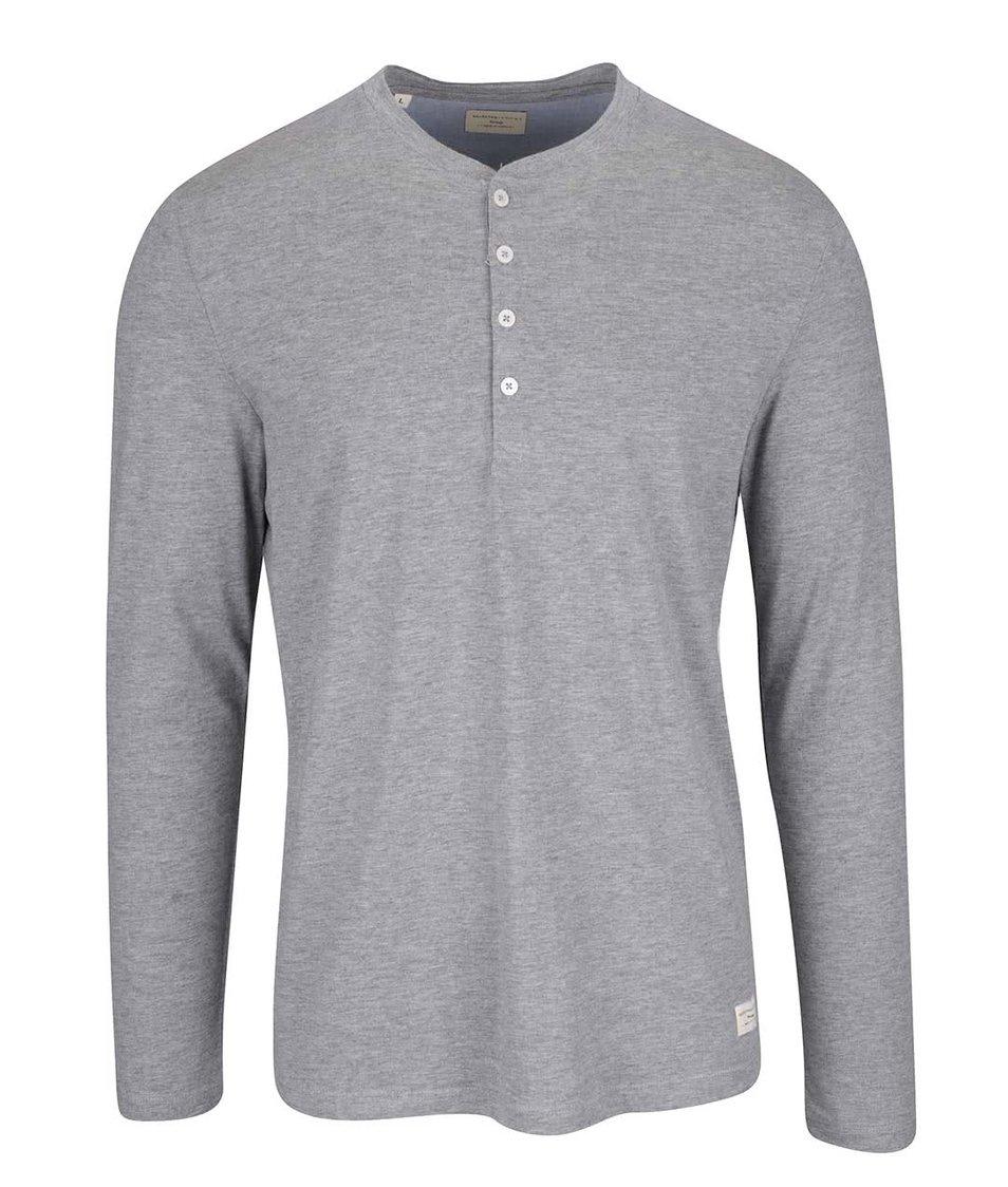 Světle šedé triko s dlouhým rukávem Selected Homme Niklas