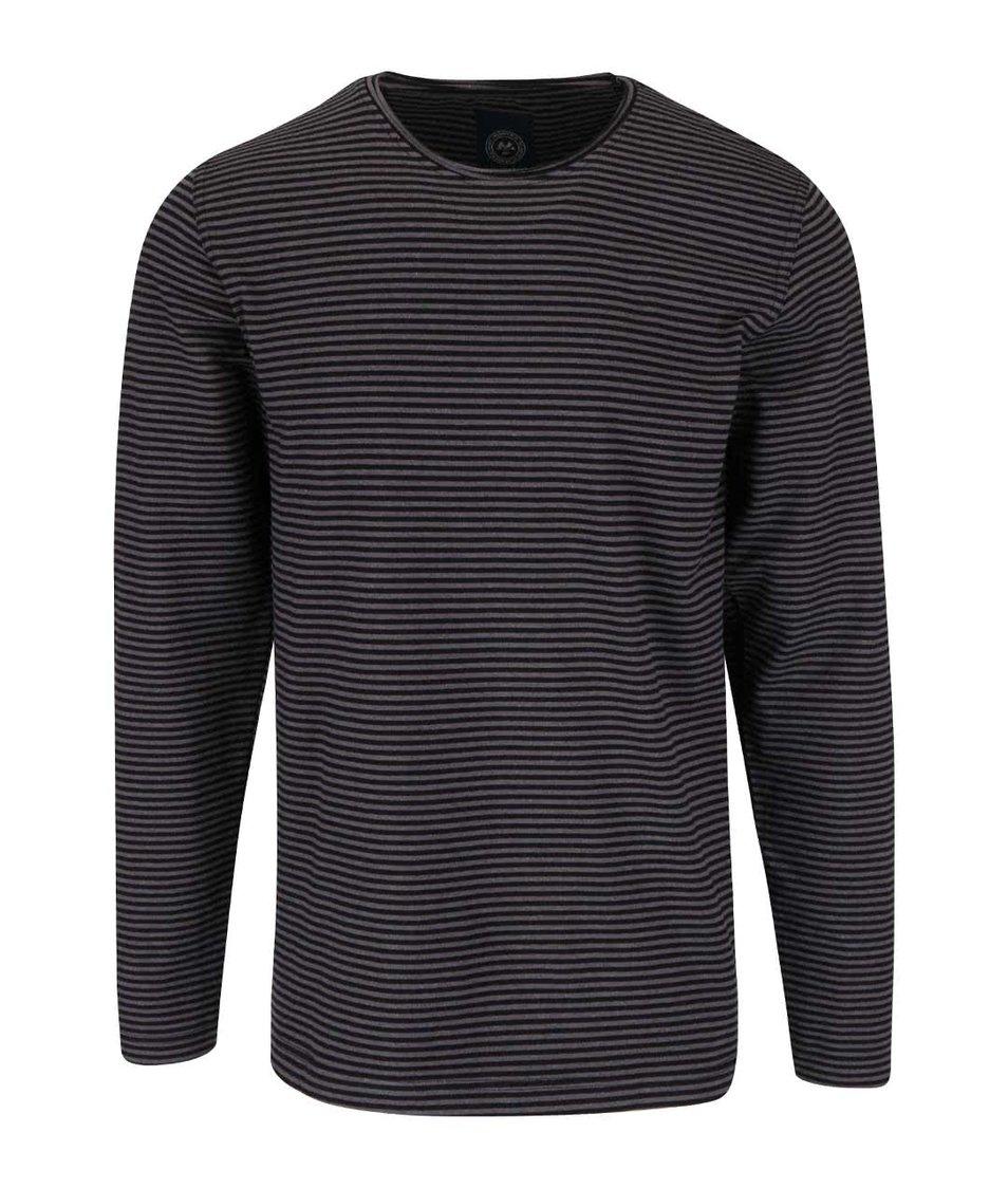 Šedo-černé pruhované triko s dlouhým rukávem Lindbergh
