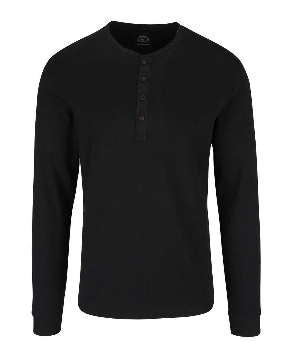 Černé triko s knoflíčky Lindbergh