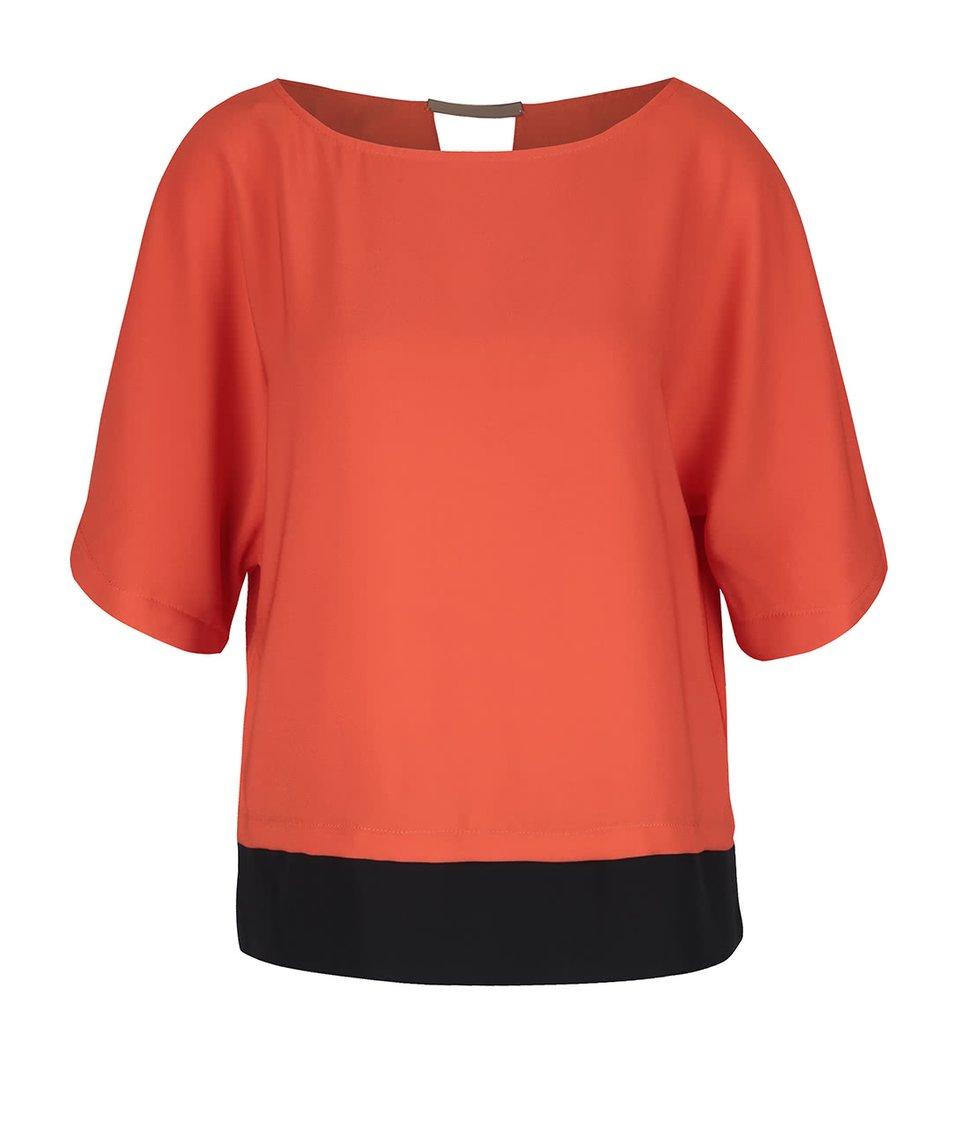 Tmavě oranžová halenka s černým lemem Dorothy Perkins