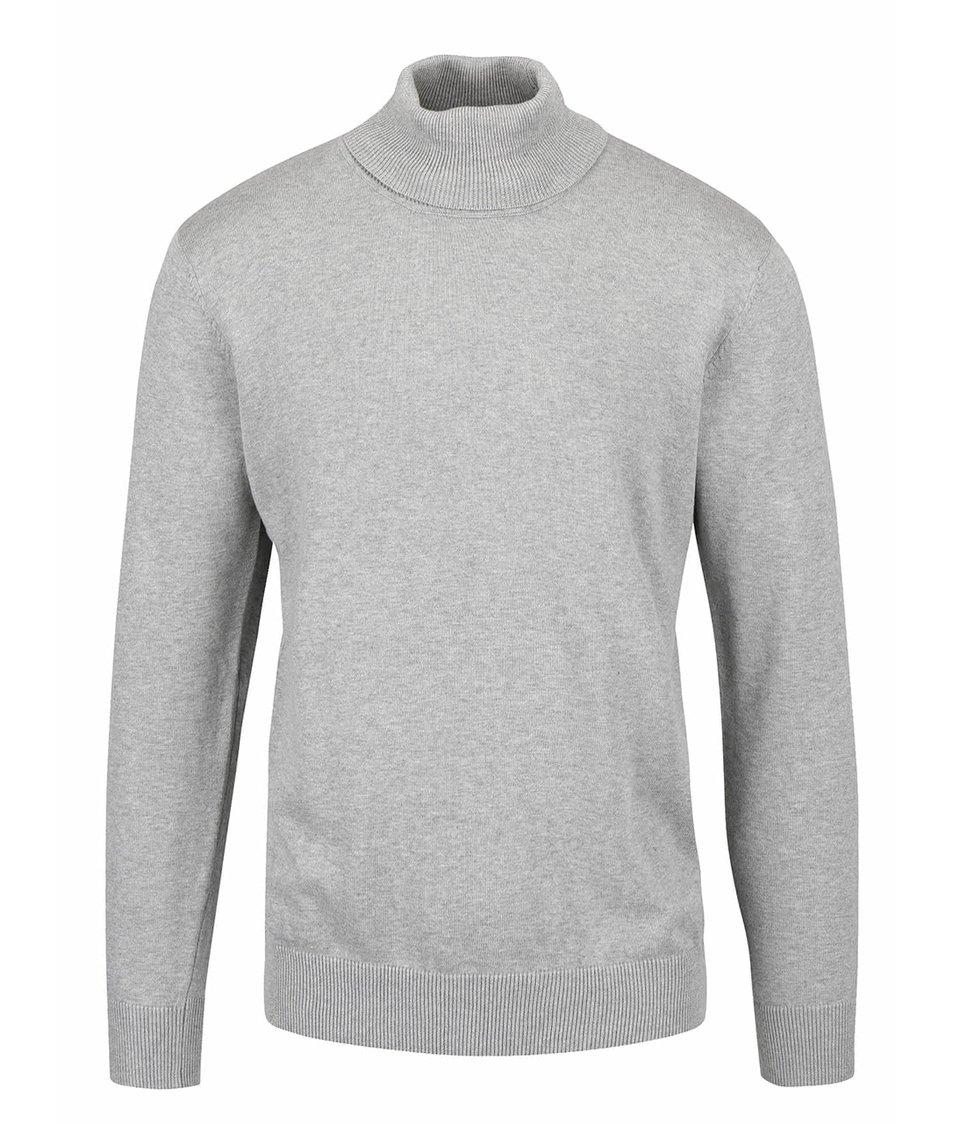 Světle šedý žíhaný svetr s rolákem Shine Original