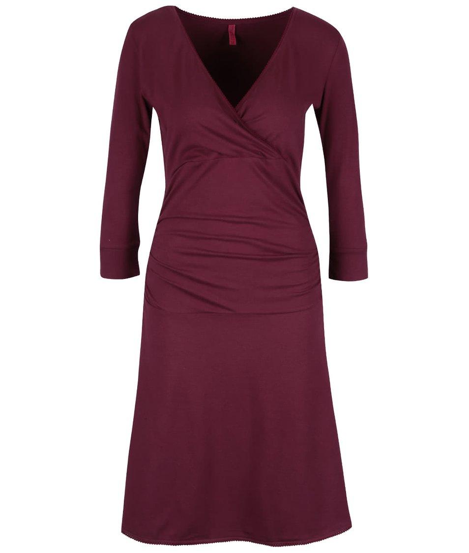 Vínové šaty s překládaným výstřihem Tranquillo Giulia