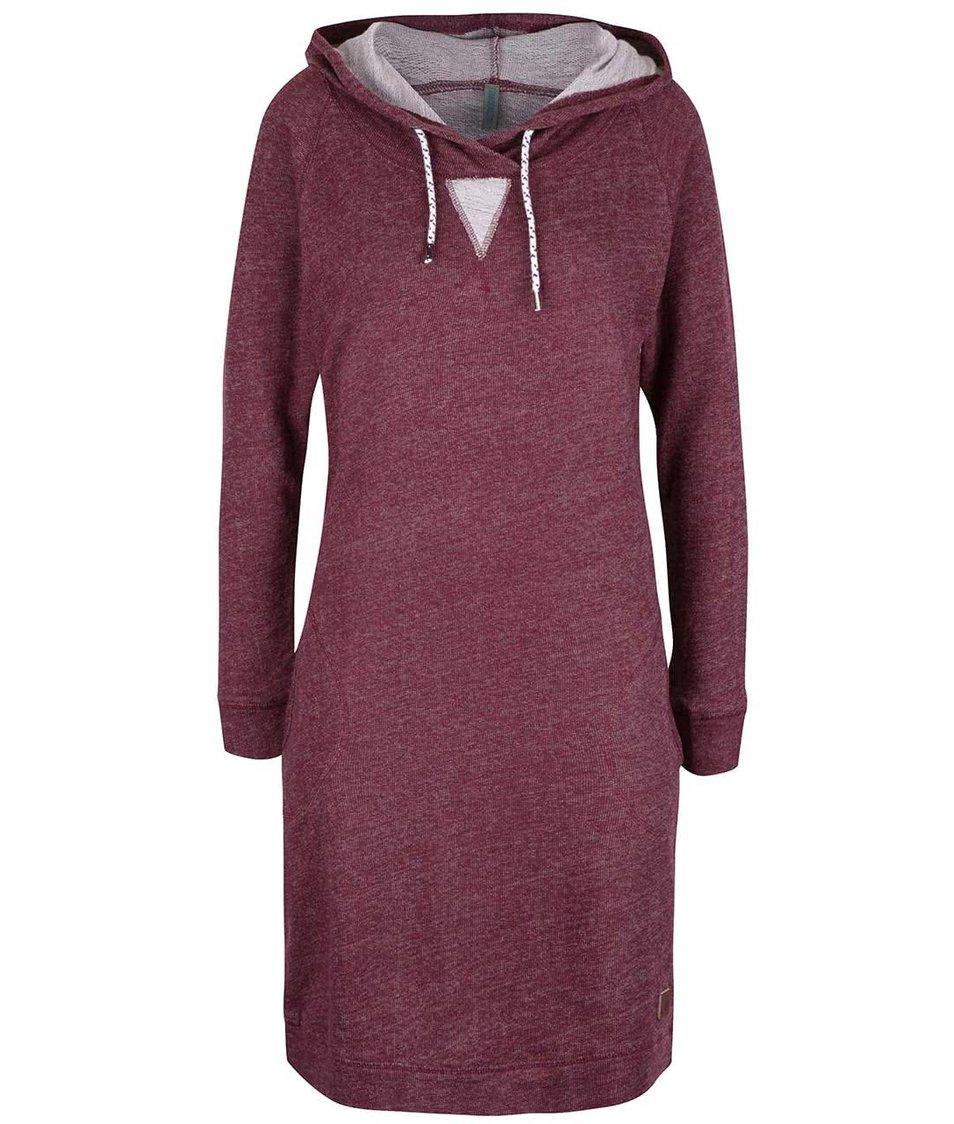 Vínové žíhané mikinové šaty s kapucí Tranquillo Sportiva