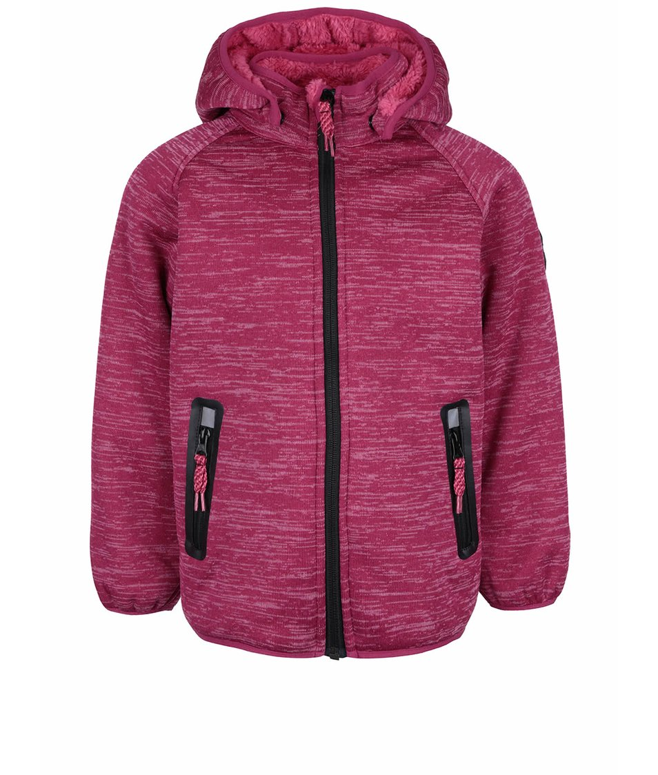 Tmavě růžová žíhaná holčičí softshell bunda name it Beta