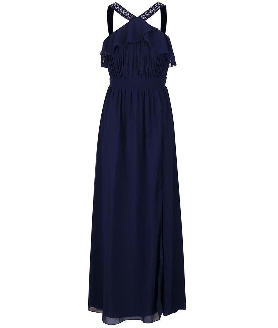 Tmavě modré dlouhé šaty s volánkem a korálkovými detaily Little Mistress