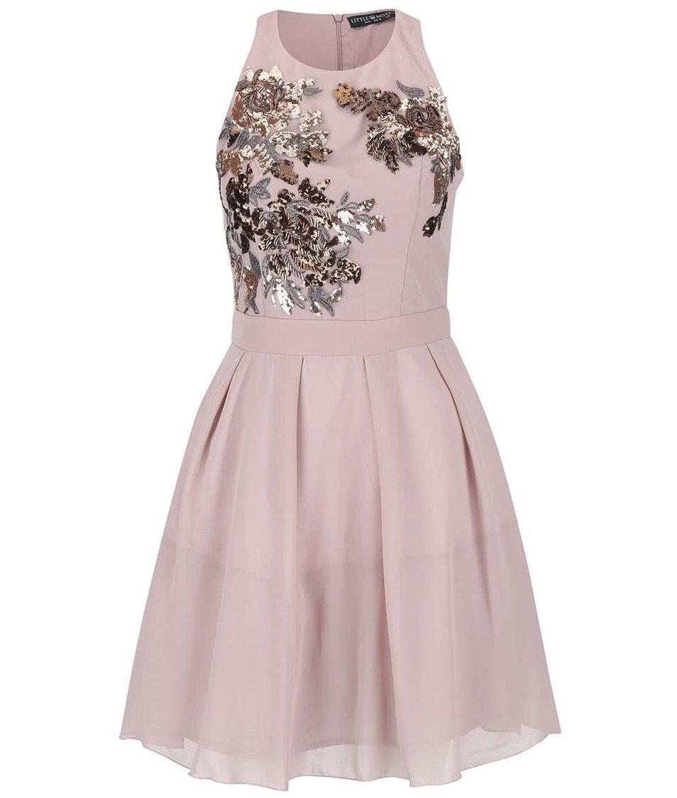 Starorůžové šaty s flitry ve zlaté a stříbrné barvě Little Mistress
