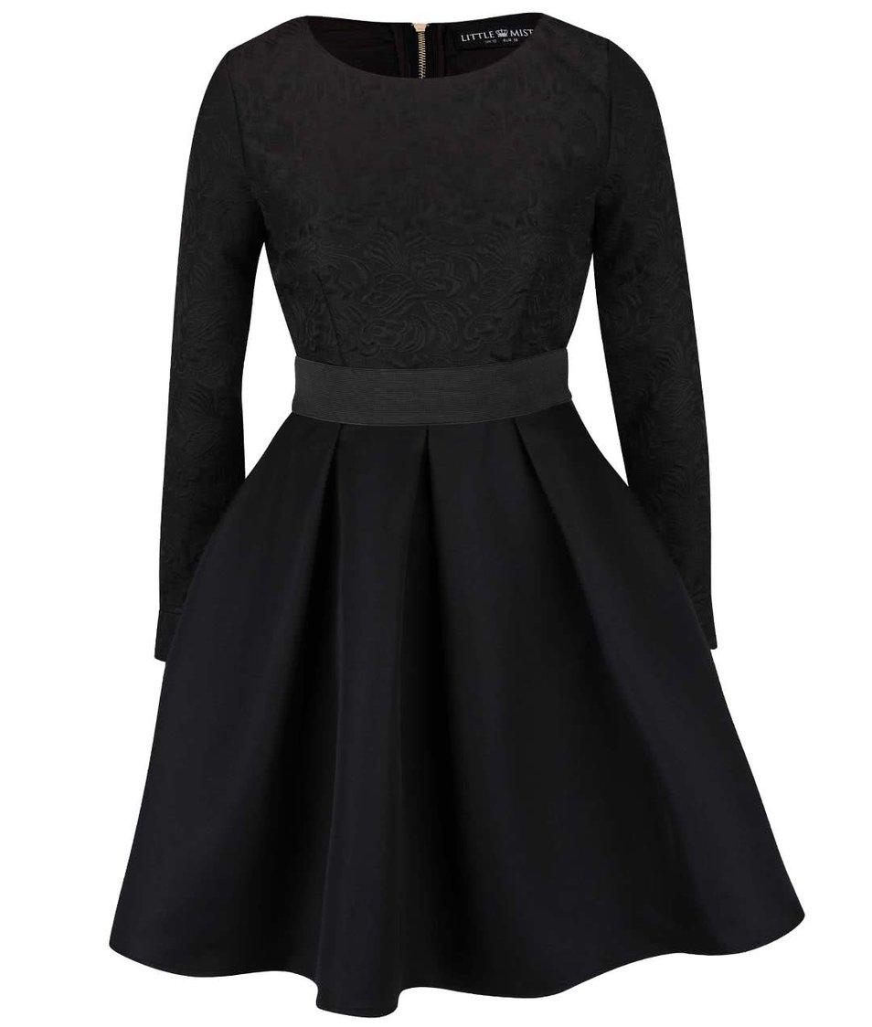 Černé šaty s dlouhými rukávy a překládanou sukní Little Mistress