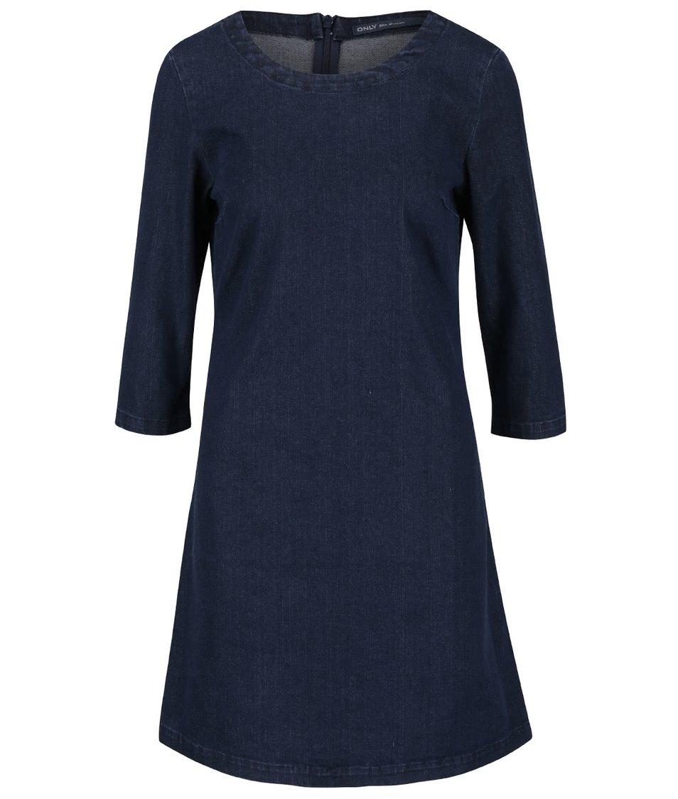 Tmavě modré denimové šaty s 3/4 rukávy ONLY Lana