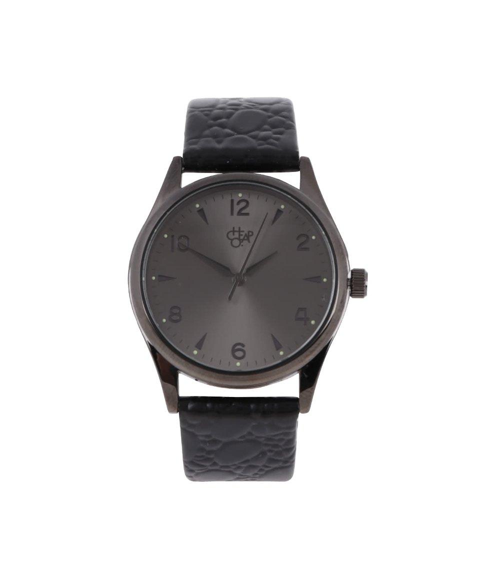Šedočerné unisex hodinky s koženým páskem Cheapo Harold