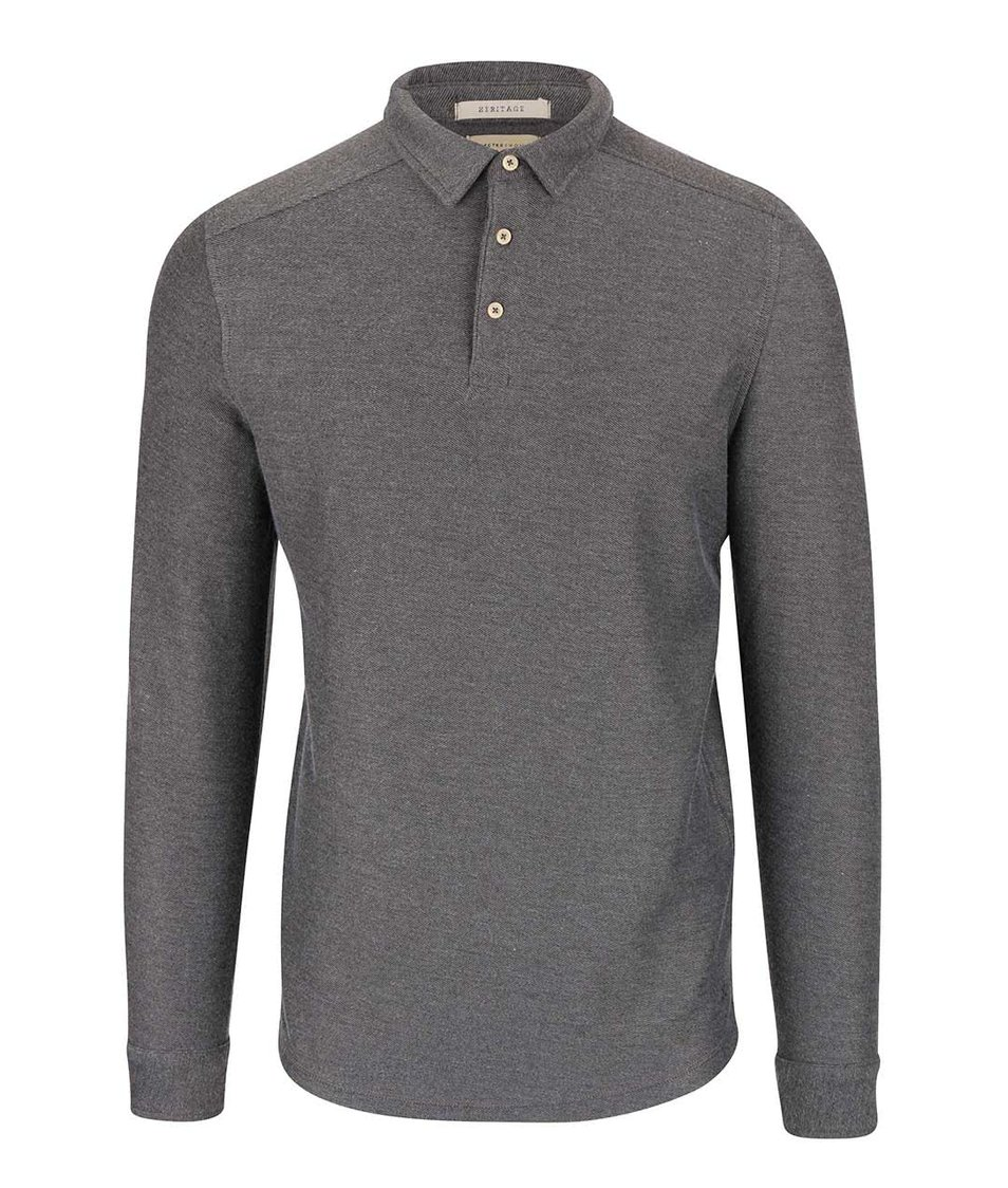 Tmavě šedé polo triko s dlouhým rukávem Selected Homme Ralf