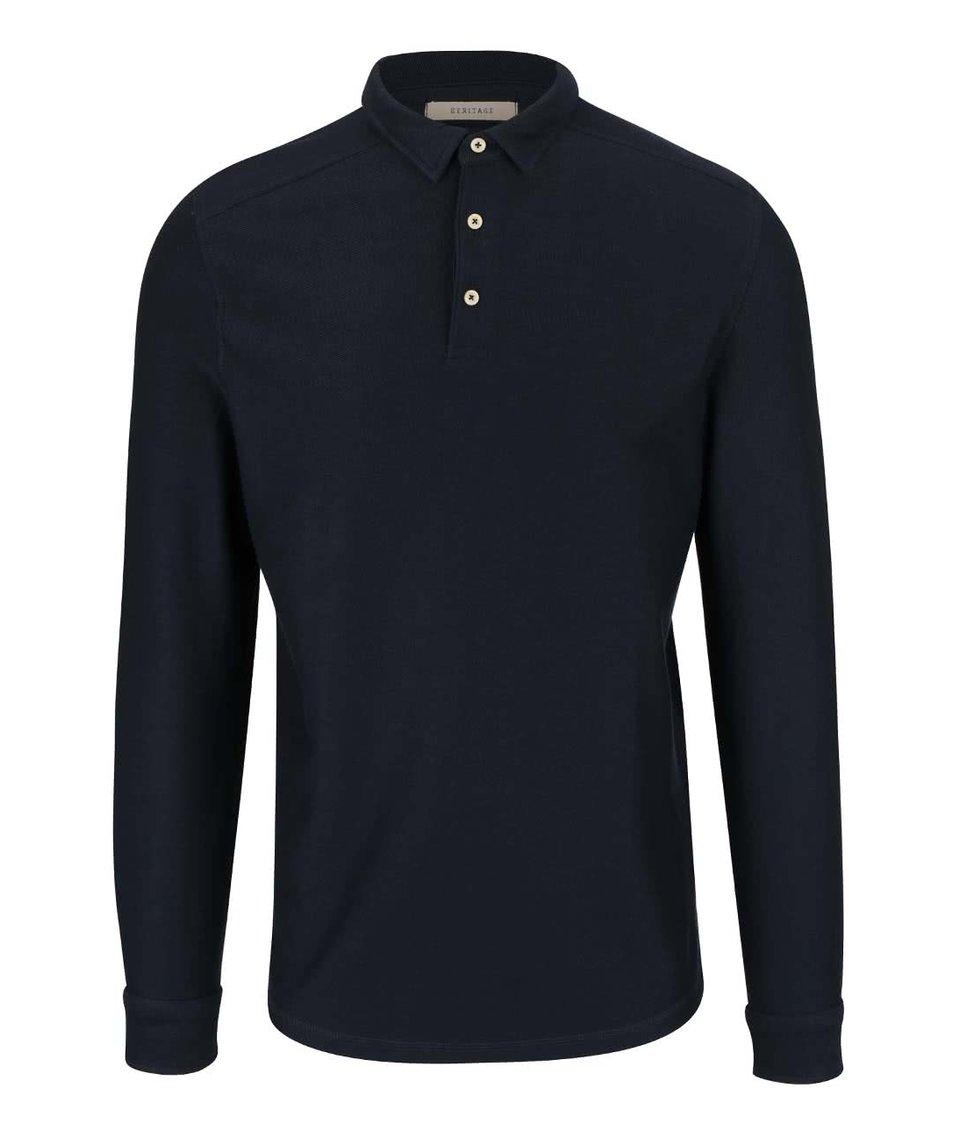 Tmavě modré polo triko s dlouhým rukávem Selected Homme Ralf