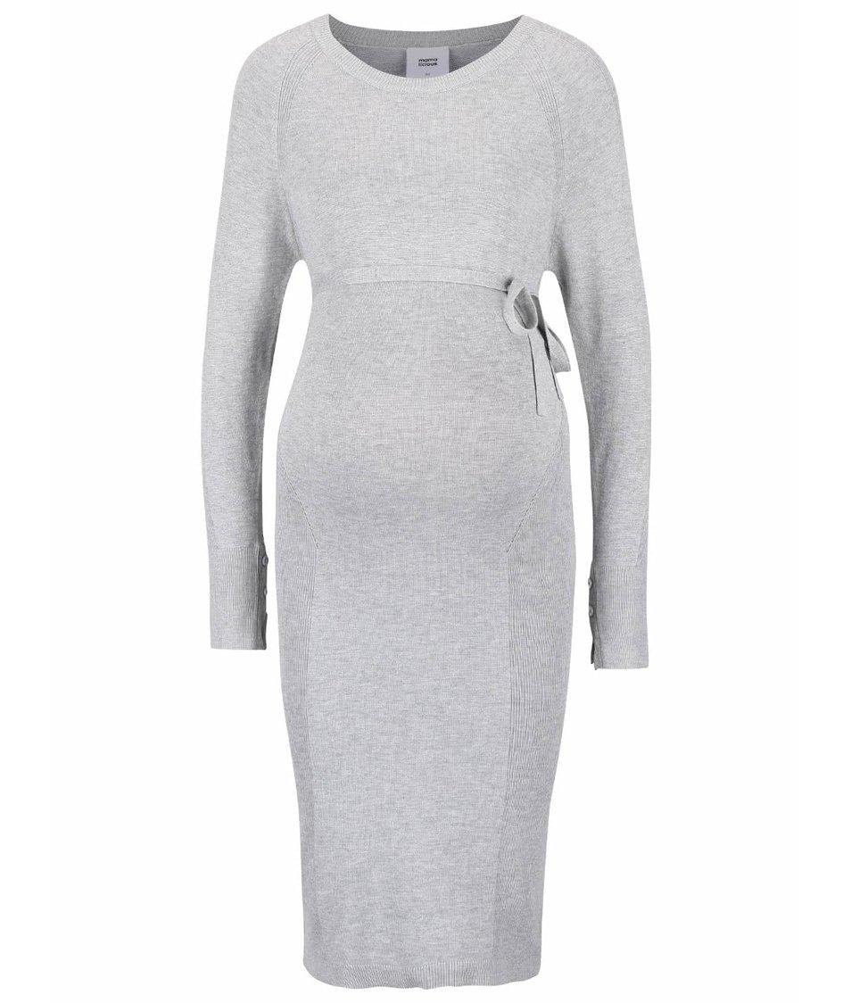 Světle šedé žíhané těhotenské svetrové šaty Mama.licious Zola