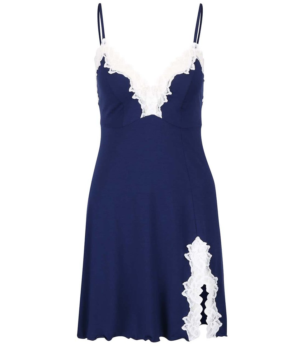 Modrá noční košilka s bílou krajkou Eldar Roma