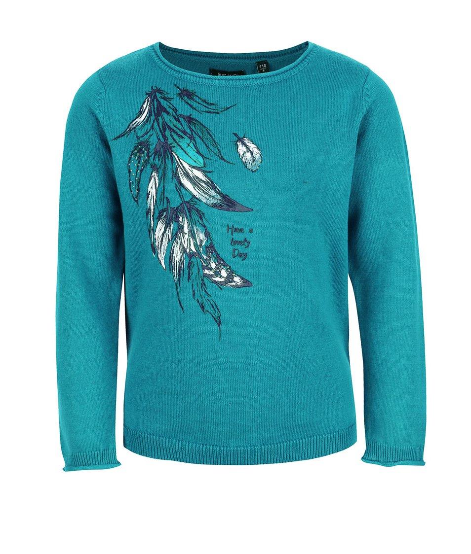 Tyrkysový holčičí svetr s pírky Blue Seven