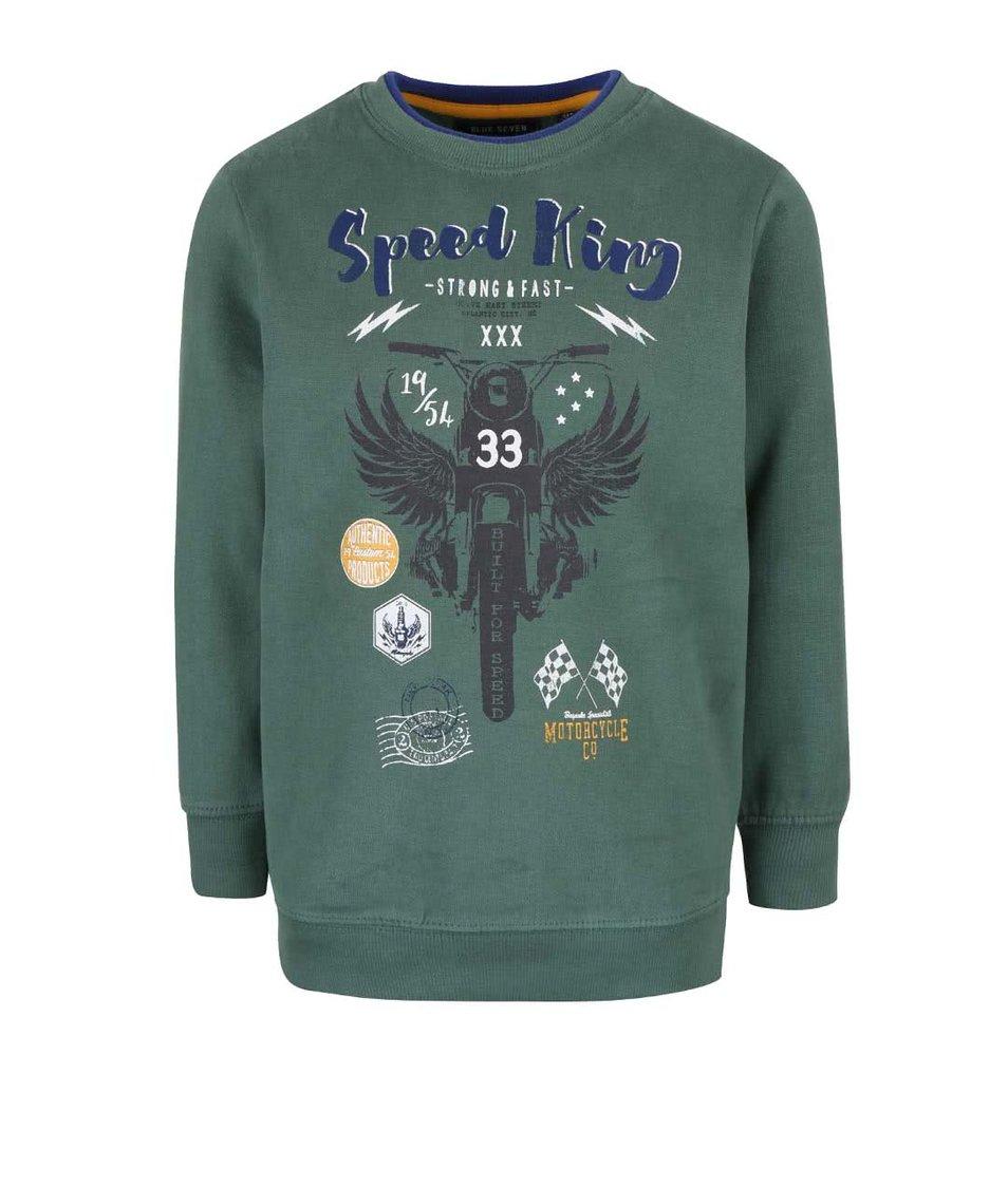 Tmavě zelená klučičí mikina s potiskem Blue Seven