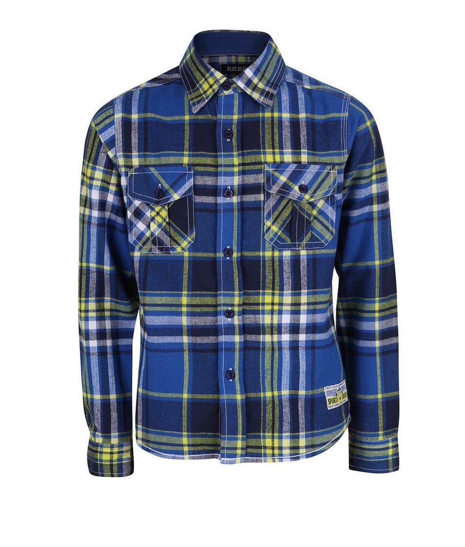 Žluto-modrá klučičí károvaná košile Blue Seven