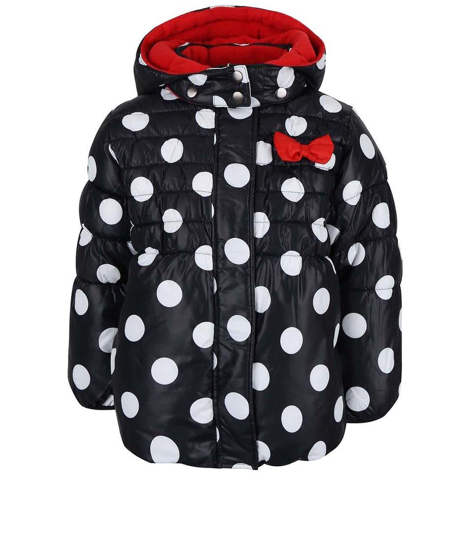 Bílo-černá holčíčí prošívaná bunda s puntíky a mašlí Blue Seven