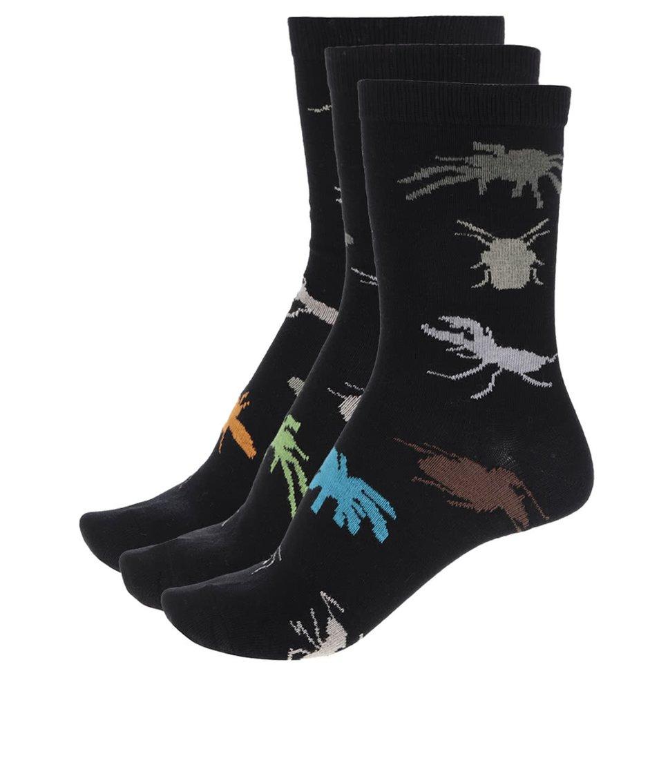 Sada tří černých pánských/klučičích ponožek s motivem hmyzu Oddsocks Bugs