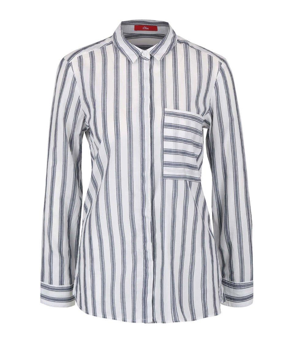 Šedo-krémová dámská košile s proužky s.Oliver