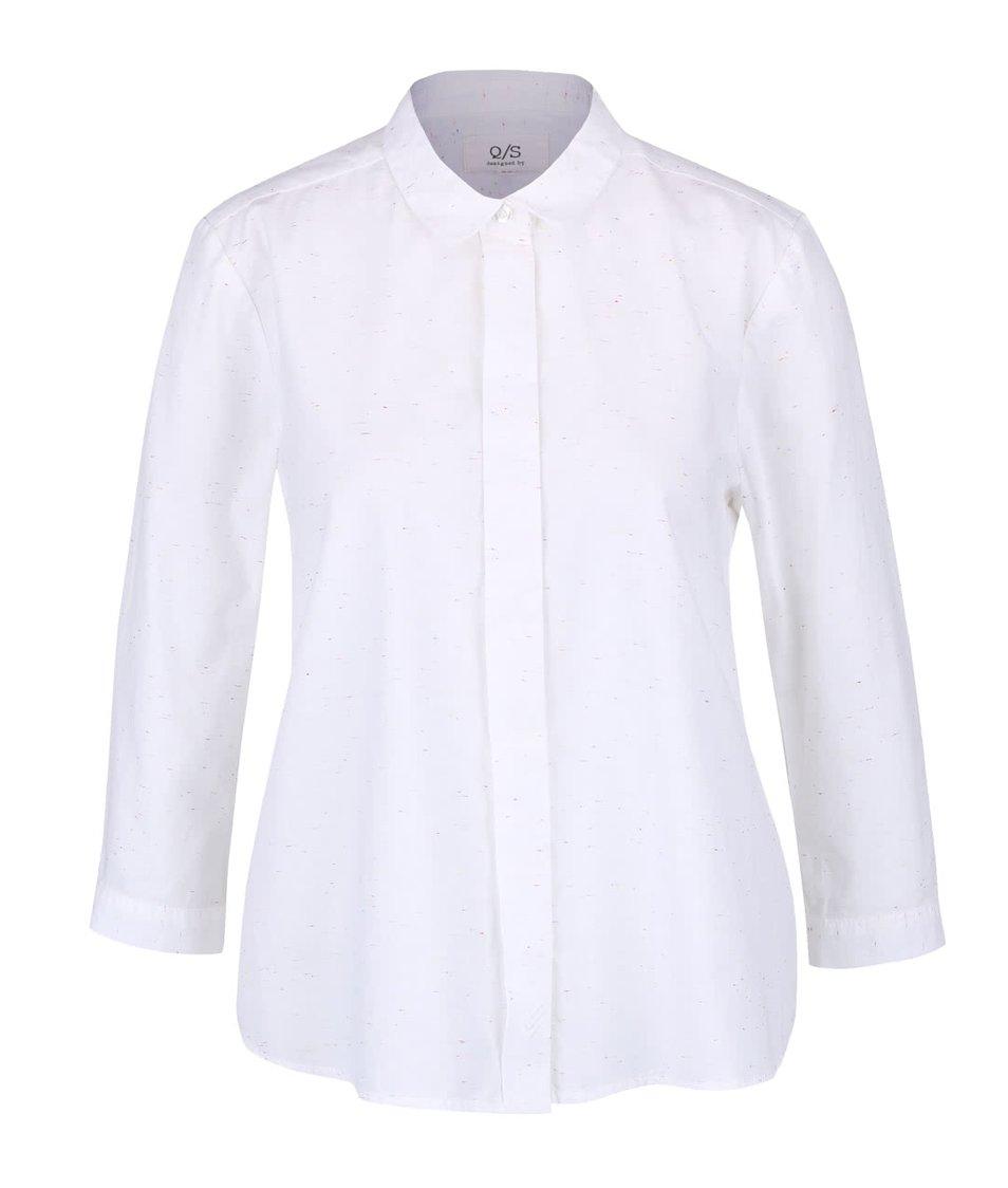 Bílá dámská košile s 3/4 rukávy a s barevným žíháním QS by s.Oliver