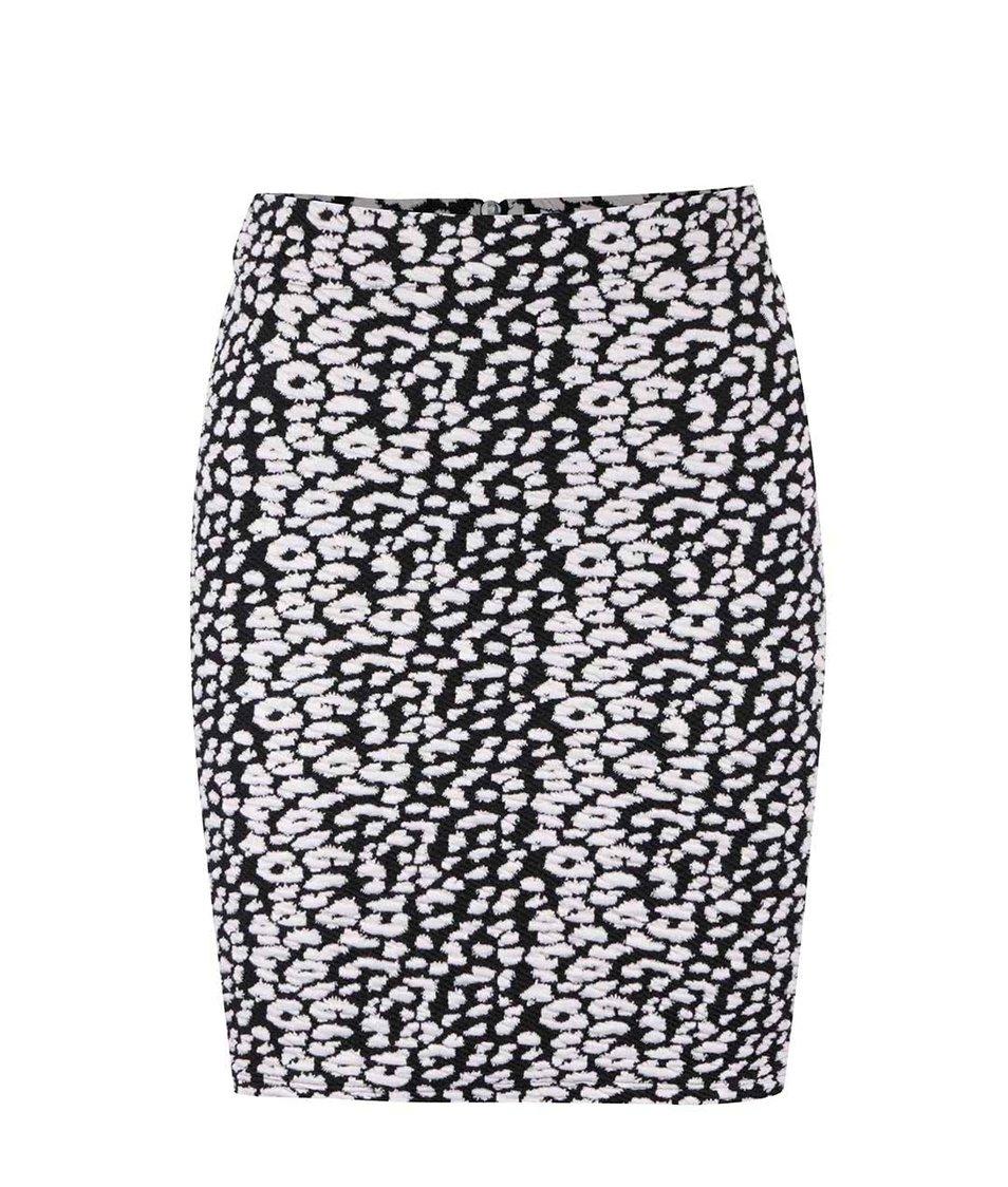 Černo-bílá vzorovaná sukně s plastickým vzorem Miss Selfridge