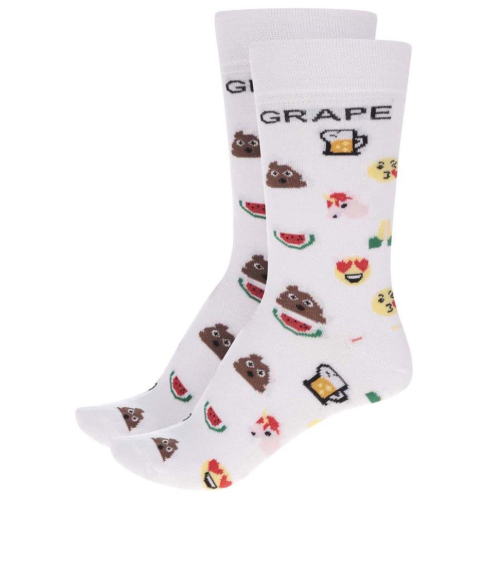 Sada dvou párů bílých unisex ponožek s motivem emotikonů Grape