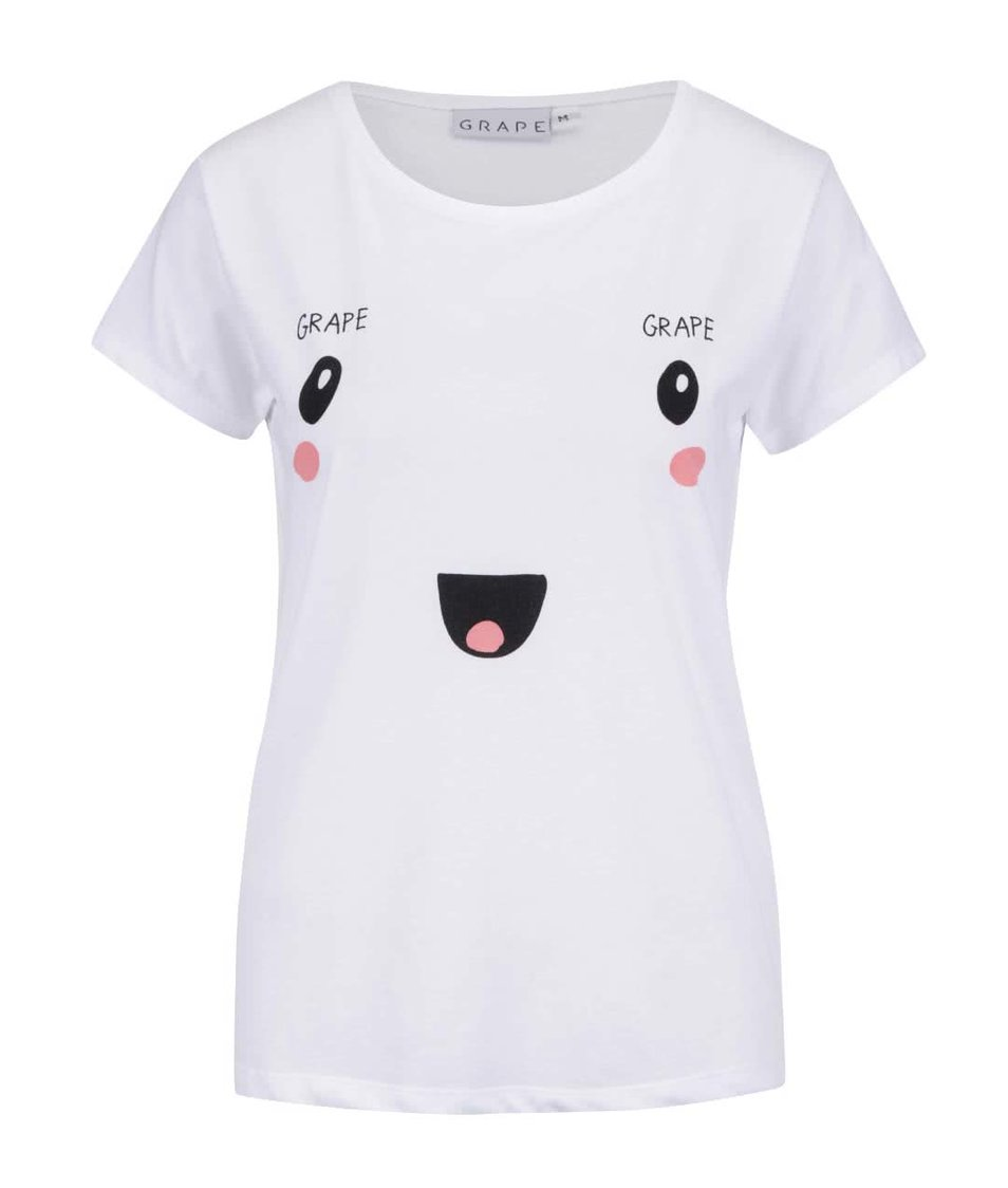 Bílé dámské tričko s potiskem Grape