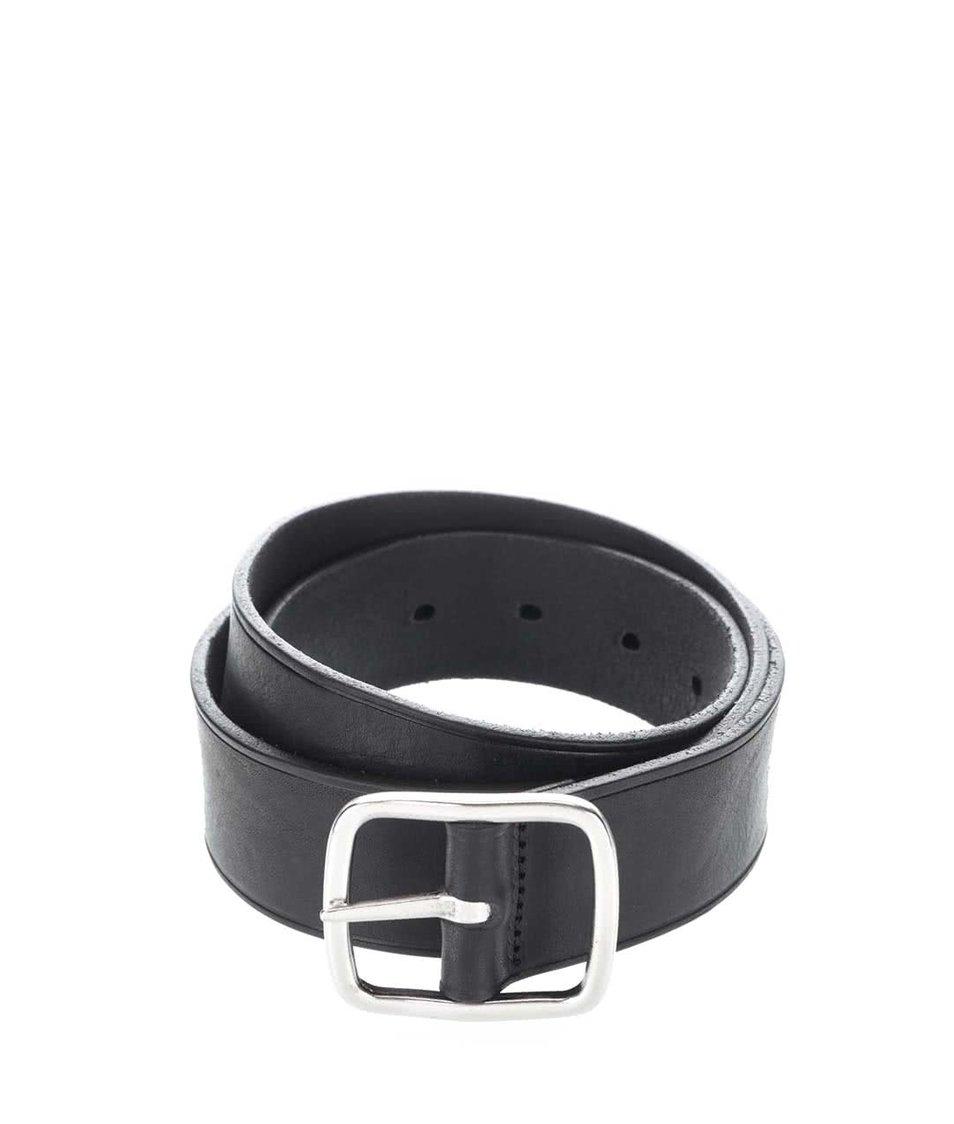 Černý kožený pánský pásek s klasickou sponou GANT