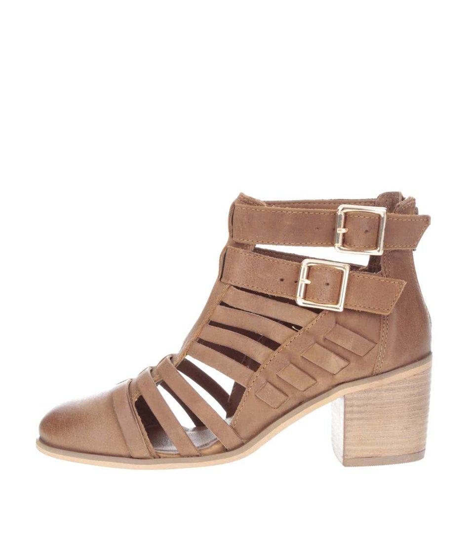 Hnědé kožené páskové kotníkové boty na podpatku Miss Selfridge